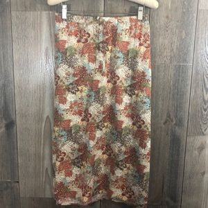 Christopher & Banks Orange Floral Linen Skirt
